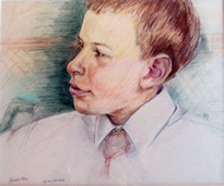 portrait of young boy  in derwent pencils on croquille board