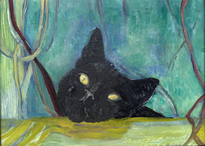 painting of black cat with wistful look